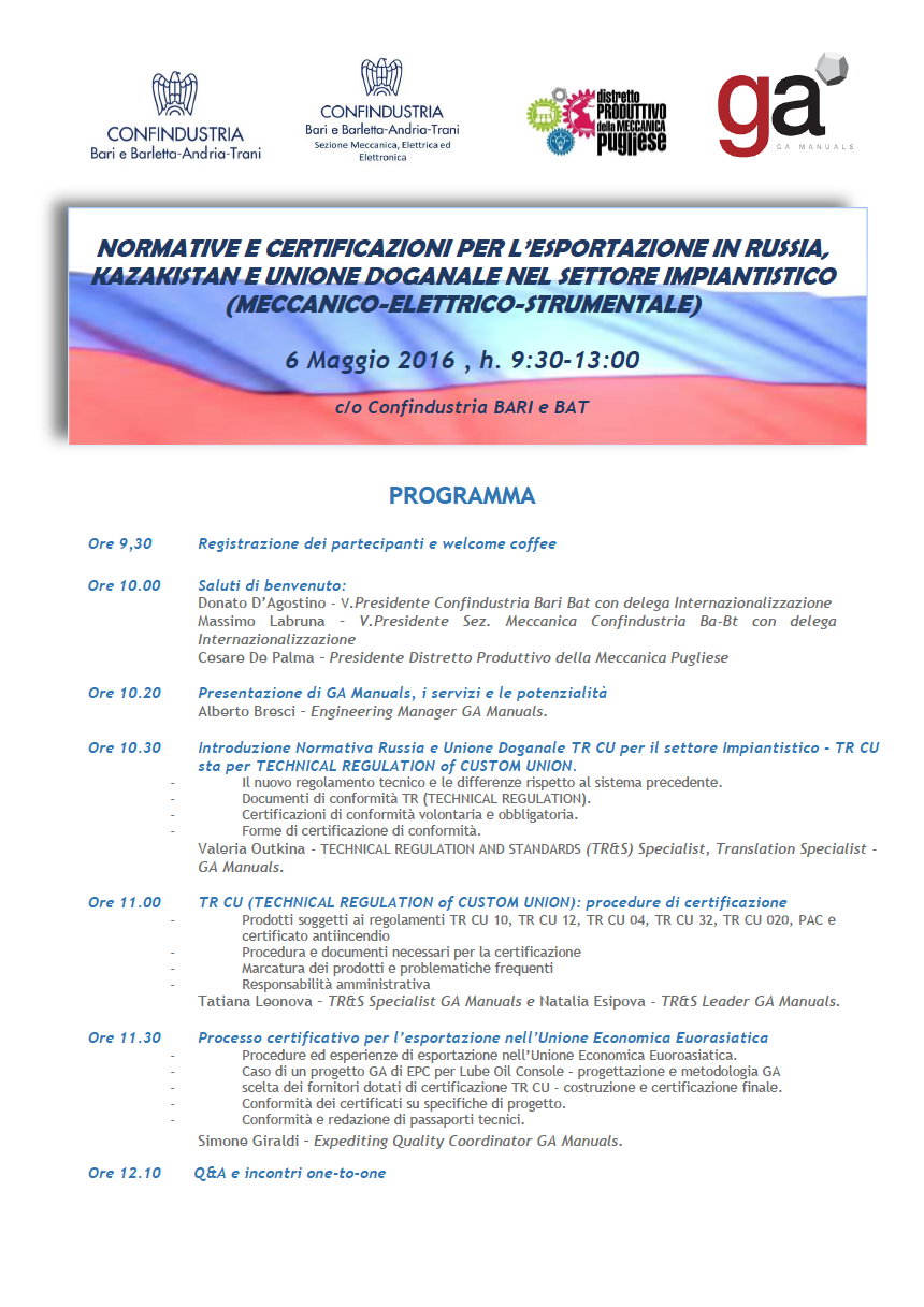 Programma_Workshop settore impiantistico GA Manuals